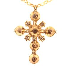 18th Century antique gold cross with table cut rose cut diamonds by Unknown
