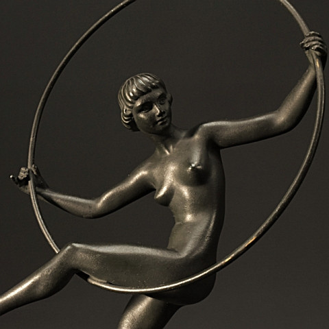 Art Deco Bronze Nude Hoop Dancer by Andre Marcel Bouraine (Briand), 1930, France by Marcel Andre Bouraine