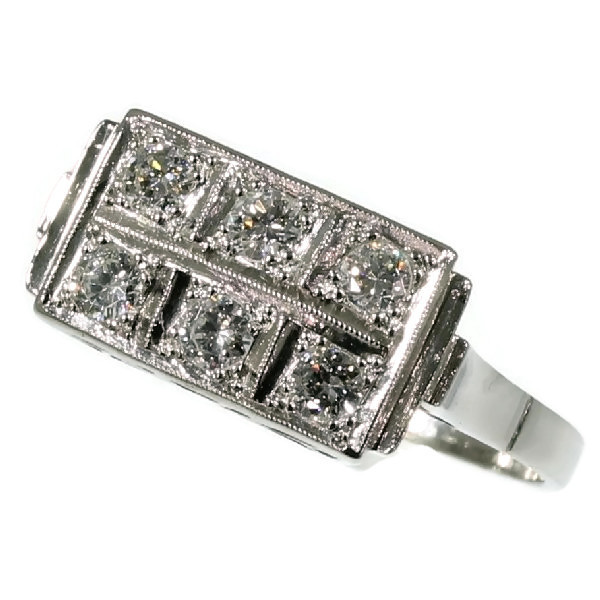 Art Deco Interbellum diamond platinum engagement ring by Unknown Artist