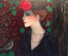 L'Oiseau (Woman with Hat and Red Rose) by Jean Pierre Cassigneul