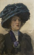 Woman with blue hat by Isaac Israels