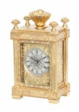 An unusual English engraved gilt brass travel clock, Aubert & Klaftenberger, circa 1860. by Aubert & Klaftenberger
