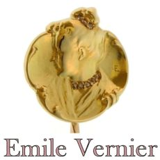 Original Art Nouveau gold and diamond tiepin by famous artist Emil Vernier by Emile Vernier